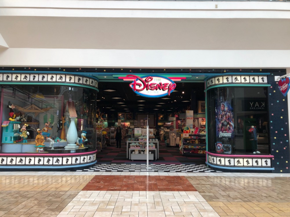 Entrance of film reel Disney store designs in a california mall