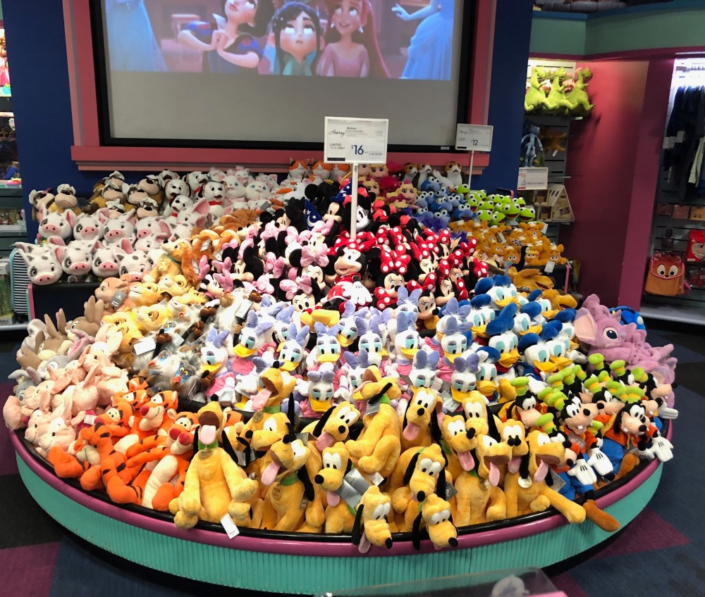 Image of plush toy display at a retro styled disney store in fairfield, ca